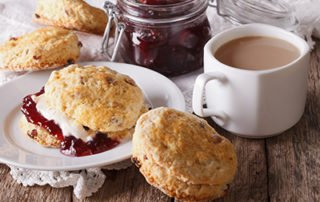 Scones with jam, cream and tea